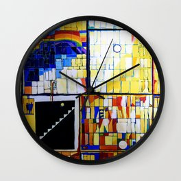 Mosaic Fabric Macro in Color Wall Clock