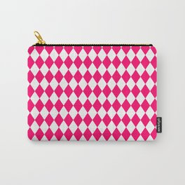 Hot Neon Pink and White Harlequin Diamond Check Carry-All Pouch