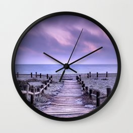 """To the beach...."" Purple sunset Wall Clock"