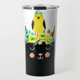 Cat & Bird Guarland Travel Mug