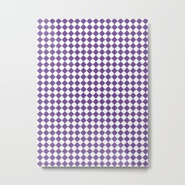 Small Diamonds - White and Dark Lavender Violet Metal Print