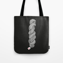 Yarn Crafter Skein Love White on Black Tote Bag