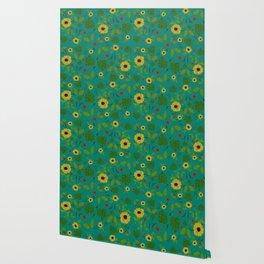 Sunflower & Monstera Leaf Wallpaper