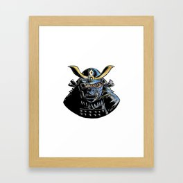 Samurai Wearing Armor Mask Mempo Woodcut Framed Art Print