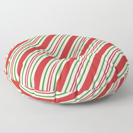 Red Green and White Candy Cane Stripes Thick and Thin Angled Lines Floor Pillow