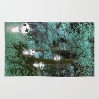 kodama Area & Throw Rugs featuring Kodama in the woods by pkarnold + The Cult Print Shop