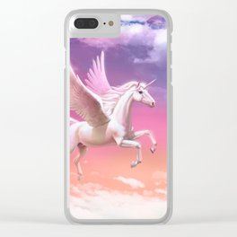 Flying unicorn at sunset Clear iPhone Case