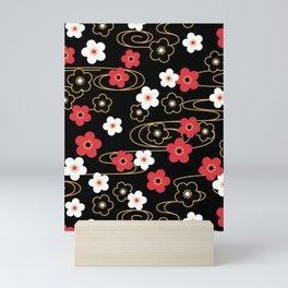 Black Sakura Kimono Pattern Mini Art Print