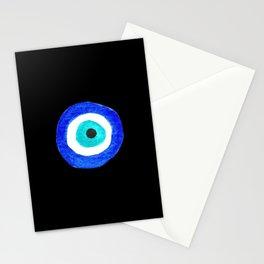 Single Evil Eye Amulet Talisman Ojo Nazar - on black Stationery Cards