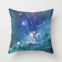 Turquoise Star Galaxy Throw Pillow