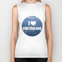 switzerland Biker Tanks featuring I Love Switzerland by Caroline Fogaça