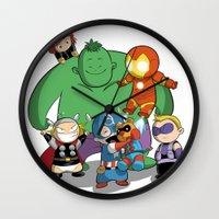 avenger Wall Clocks featuring The Baby Avenger-s by Tsuki-Nekota