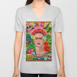 Frida Kahlo Floral Exotic Portrait Unisex V-Neck