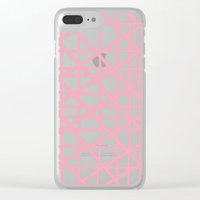 Texture lines pink and white Clear iPhone Case