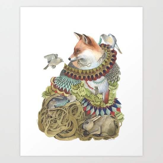 Quilted Comrades in the Forest Art Print