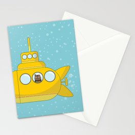 Yellow submarine with a cat and bubbles Stationery Cards