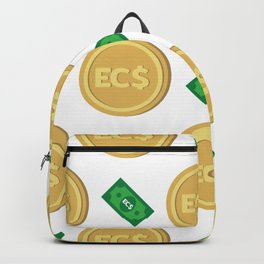 Eastern Caribbean dollar EC$ code XCD banknote and coin pattern wallpaper Backpack