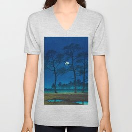 Vintage Japanese Woodblock Print Three Tall Trees At Night Forest Field Landscape Unisex V-Neck