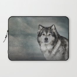 Drawing Dog Alaskan Malamute Laptop Sleeve