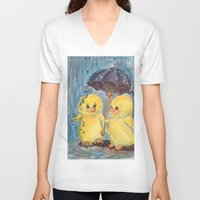 ducks V-neck T-shirts featuring Ducks by Corinne Fallone