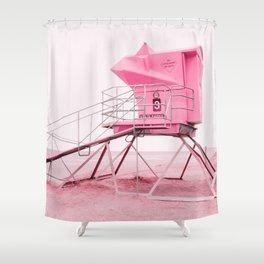 Malibu Lifeguard Tower in Pink Shower Curtain
