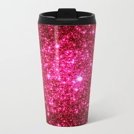 Hot Pink Glitter Galaxy Stars Travel Mug