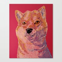 shiba inu Canvas Prints featuring Shiba Inu by eriatlov j