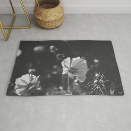 Black and white anemone flowers Rug