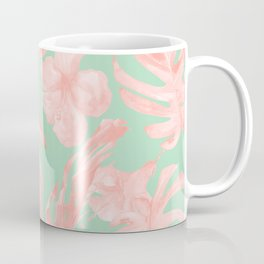 Tropical Palm Leaves Hibiscus Pink Mint Green Coffee Mug