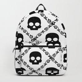 Skulls & Flowers - White Backpack