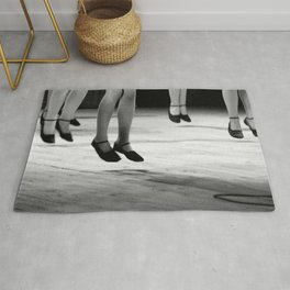 Live with both feet off the ground, inspirational dance black and white photography - photographs Rug