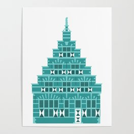 House with corbie gable in Holland blue Poster