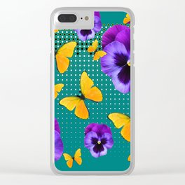 TEAL PURPLE PANSIES BUTTERFLY OPTIC ART Clear iPhone Case