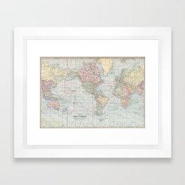 Vintage World Map (1901) Framed Art Print