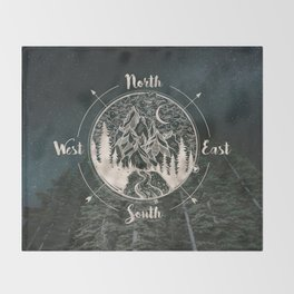 Mountains Compass Milky Way Woods Gold Throw Blanket