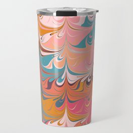 Colorful Abstract Marbled Design Travel Mug