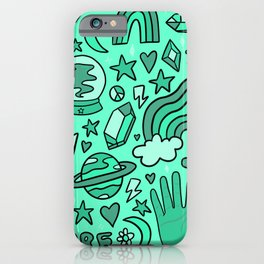 Turquoise Print iPhone Case