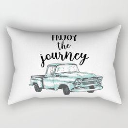 """""""Enjoy the Journey"""" Quote and Vintage Truck Rectangular Pillow"""