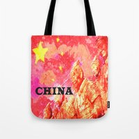china Tote Bags featuring China by Brian Raggatt
