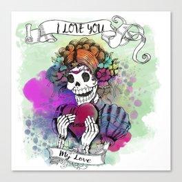 Day of the Dead Sugar Love Canvas Print