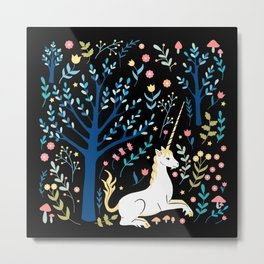 Black unicorn garden Metal Print