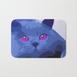 Pop art blue cat Bath Mat