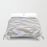 glitch Duvet Covers featuring White Trash by pixel404