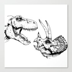 T-Rex Vs Triceratops Canvas Print