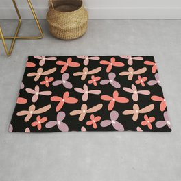 Colorful floral Cut Out Flowers and Leaves fabric Black II Rug