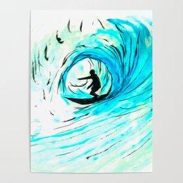 Surfer in blue Poster