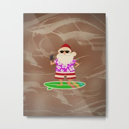 Santa Claus Surfing Metal Print