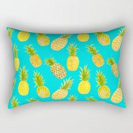 Pineapple Doodles On Aqua Rectangular Pillow
