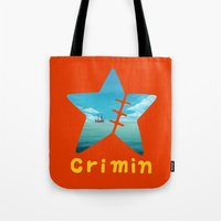 one piece Tote Bags featuring One Piece Crimin by POP42