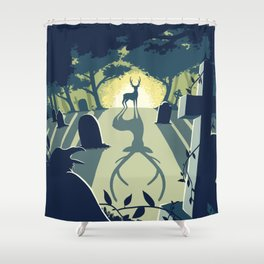 Deerly Departed - Stag in a Cemetery Shower Curtain